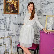 Skirts handmade. Livemaster - original item Mesh skirt neoprene milk white. Handmade.