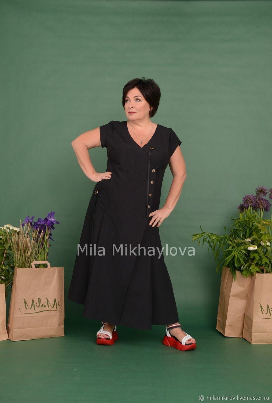 Double-breasted dress, Italian linen, black Art. Three thousand five hundred fifty three, Dresses, Kirov,  Фото №1