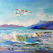 Картины и панно handmade. Livemaster - original item Overflows of the sea - oil painting, painting with the sea. Handmade.