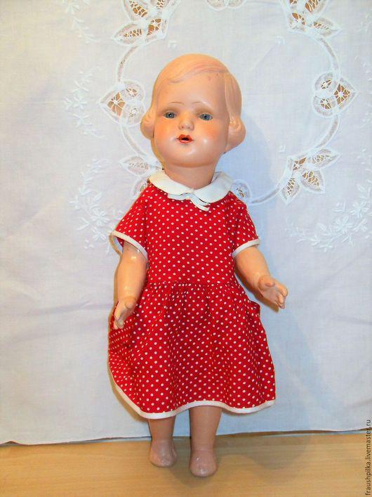Винтажные куклы и игрушки. Ярмарка Мастеров - ручная работа. Купить Винтажная кукла 1936г. Платьице в горошек. Handmade. Коллекционная кукла