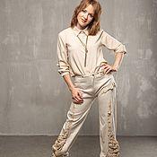 Одежда handmade. Livemaster - original item V_010 cropped Pants, white.. Handmade.
