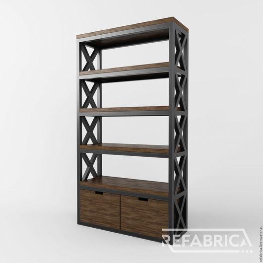 Стеллаж в стиле лофт с двумя выдвижными ящиками на заказ по размеру и нужного цвета