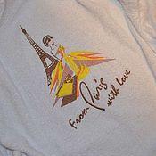 Одежда ручной работы. Ярмарка Мастеров - ручная работа Белый махровый именной халат. Машинная вышивка. Handmade.