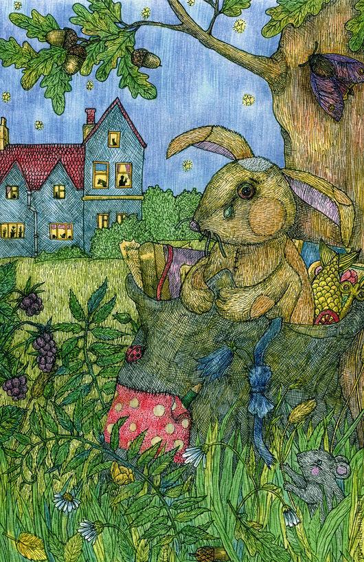Детская ручной работы. Ярмарка Мастеров - ручная работа. Купить Принт Плюшевый кролик. Возле дома. Авторская картина для детской. Handmade.