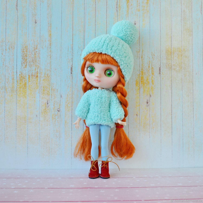 Вязаный комплект для куклы Блайз миди, Оутфит, Одежда для кукол, Москва,  Фото №1