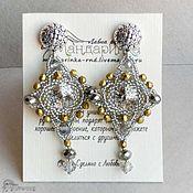 Украшения handmade. Livemaster - original item Beaded earrings with Rivoli