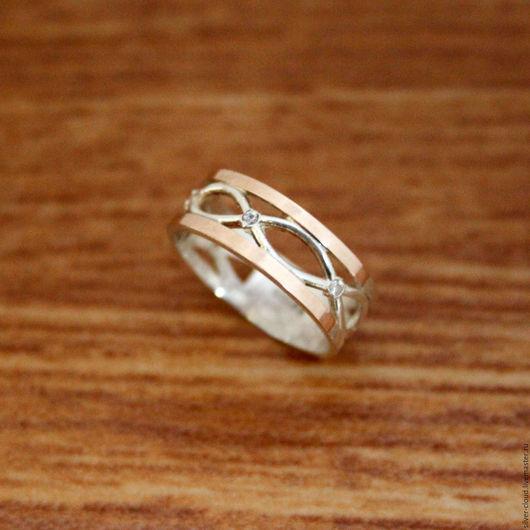 Кольца ручной работы. Ярмарка Мастеров - ручная работа. Купить Серебряное кольцо Косичка с золотыми накладками, 925 пробы. Handmade.