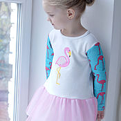 Работы для детей, ручной работы. Ярмарка Мастеров - ручная работа Платье фламинго. Handmade.