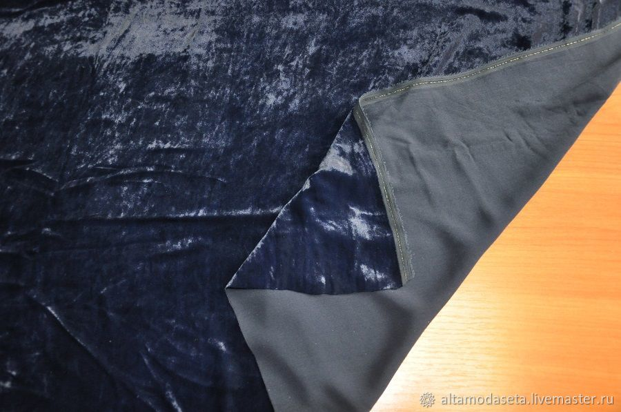 Бархат шелковый темно-синий из Италии, Ткани, Москва,  Фото №1