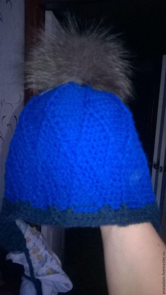 Для подростков, ручной работы. Ярмарка Мастеров - ручная работа. Купить шапка. Handmade. Тёмно-синий, с помпоном, шапка с ушками