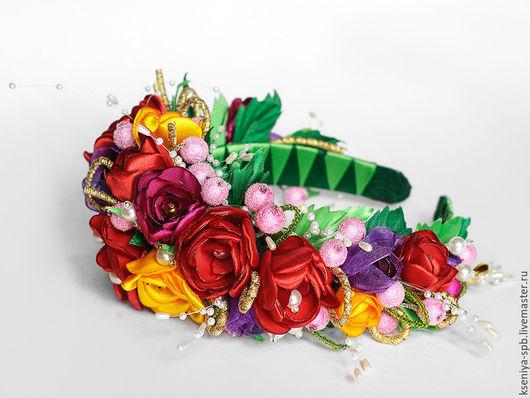 """Диадемы, обручи ручной работы. Ярмарка Мастеров - ручная работа. Купить Ободок с цветами - украшение для волос - """"Краски Лета"""". Handmade."""