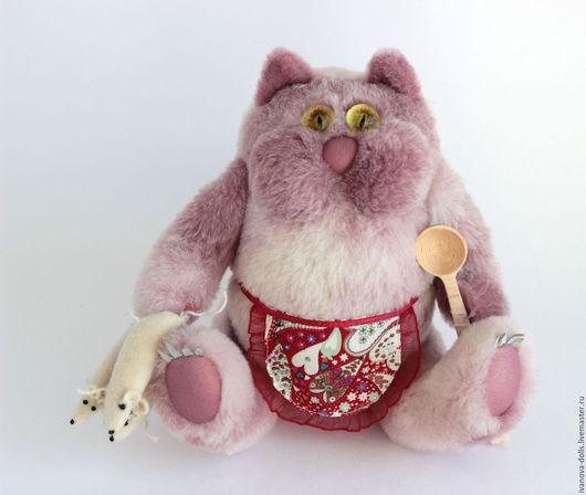 Игрушки животные, ручной работы. Ярмарка Мастеров - ручная работа. Купить Игрушка из натурального меха. Кот с мышками. Handmade. Розовый