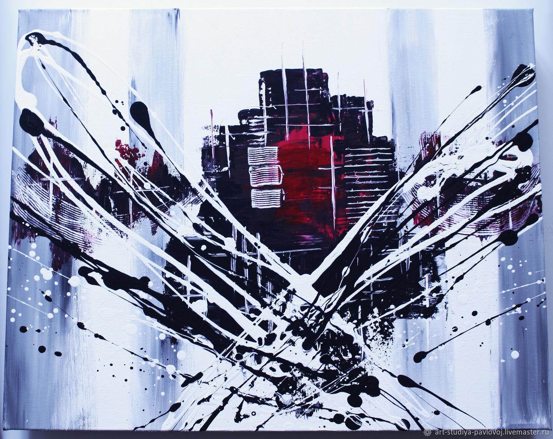 Мегаполис абстракция акрил, Картины, Москва,  Фото №1