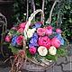 Букеты ручной работы. Ярмарка Мастеров - ручная работа. Купить Корзина из сезонных цветов.. Handmade. Разноцветный, пионы, розы, подарок