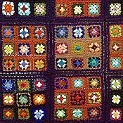 Пледы ручной работы. Ярмарка Мастеров - ручная работа Плед крючком разноцветный на коричневом фоне Цветущая саванна. Handmade.