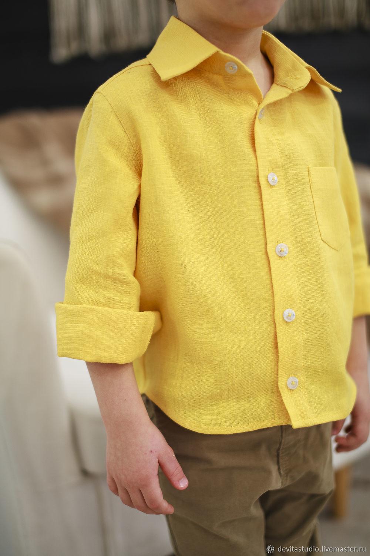 25ae60bf1d44 Желтая Льняная рубашка для мальчика – купить в интернет-магазине на Ярмарке  ...