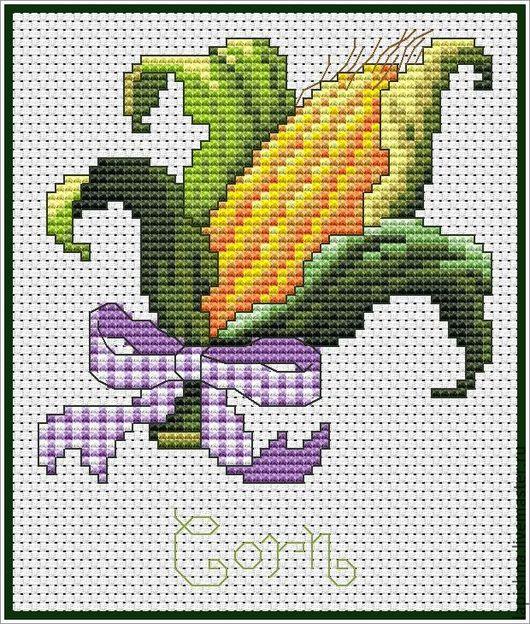 Вышивка ручной работы. Ярмарка Мастеров - ручная работа. Купить Схема для вышивки крестом «КУХНЯ. Овощи. Кукуруза». Handmade. овощи