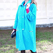 Одежда ручной работы. Ярмарка Мастеров - ручная работа Пальто букле бирюзовое. Handmade.