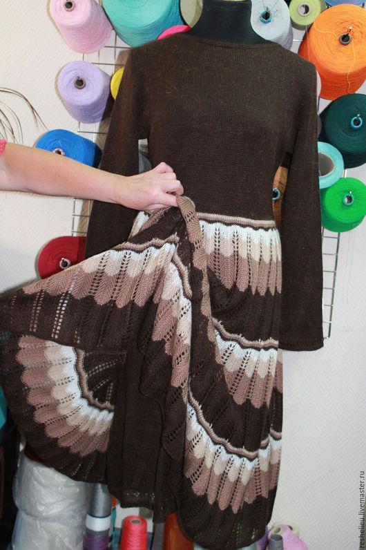 Платья ручной работы. Ярмарка Мастеров - ручная работа. Купить Платье вязаное №32 из 30% мохера.. Handmade. Коричневый, однотонный