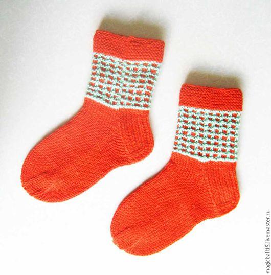 Носки, Чулки ручной работы. Ярмарка Мастеров - ручная работа. Купить Носки вязаные. Оранж. Handmade. Оранжевый, носки вязанные