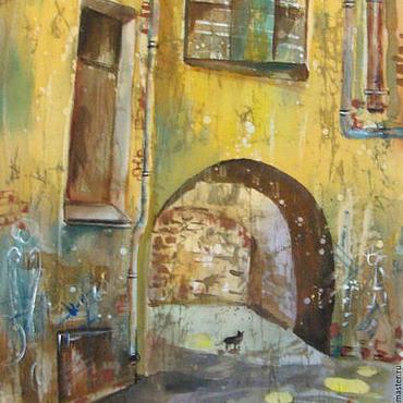 Картины и панно ручной работы. Ярмарка Мастеров - ручная работа Питерский дворик ( батик панно). Handmade.