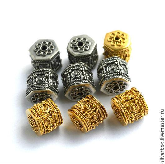 Два Цвета Бусина Бали ШЕСТИГРАННАЯ серебро 925 Для украшений Нина(SilverBox) Ярмарка Мастеров