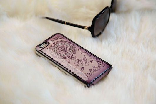 Для телефонов ручной работы. Ярмарка Мастеров - ручная работа. Купить Чехол-флип для  iPhone 7/7 plus- 6/6s/ 6plus -5/5s/se Pink Flower. Handmade.