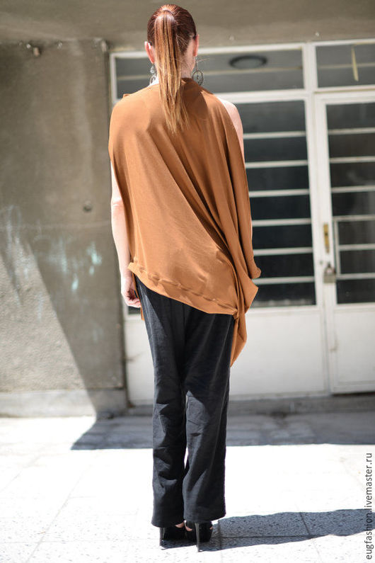 Модная блузка. Блузка. Коричневая блузка. Хлопок. Ручная одежда. Ярмарка Мастеров.