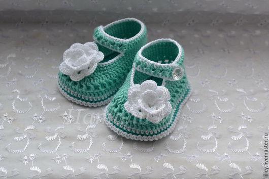 """Для новорожденных, ручной работы. Ярмарка Мастеров - ручная работа. Купить Туфельки вязанные """"Мятная роза"""". Handmade. Мятный"""