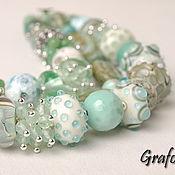Украшения handmade. Livemaster - original item Bracelet with stones Mint. Handmade.
