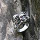 """Кольца ручной работы. """"Sansara"""" серебряное кольцо с рубином, кольцо с черепом, брутальное. Adorazione (adorazione). Ярмарка Мастеров. Украшения для рокеров"""