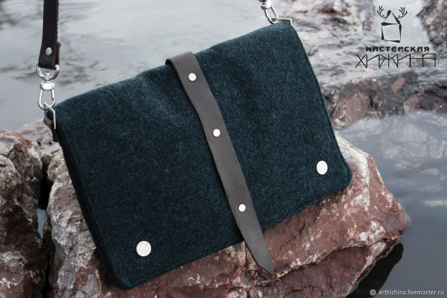 Wool clutch with leather belt, Clutches, Tomsk,  Фото №1