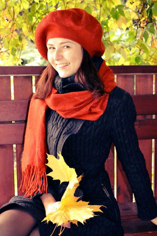 """Комплекты аксессуаров ручной работы. Ярмарка Мастеров - ручная работа. Купить Комплект """"Рыжая осень"""" Шарф и берет. Handmade. Однотонный"""