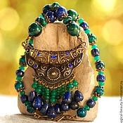 Necklace handmade. Livemaster - original item Necklace with lapis lazuli and chrysocolla