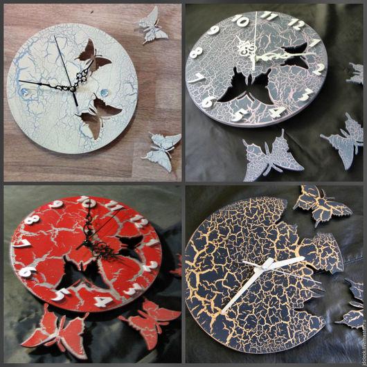 Часы для дома ручной работы. Ярмарка Мастеров - ручная работа. Купить Настенные часы-бабочки (с эффектом кракелюра). Handmade.