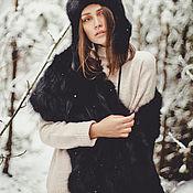 Аксессуары handmade. Livemaster - original item Fox fur stole in black. Handmade.