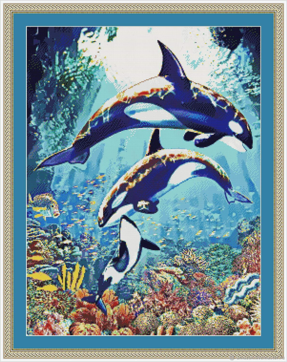 Kit embroidery with beads 'killer Whales', Embroidery kits, Ufa,  Фото №1