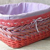 Для дома и интерьера ручной работы. Ярмарка Мастеров - ручная работа Плетеная корзина Розовая нежность. Handmade.