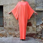Одежда ручной работы. Ярмарка Мастеров - ручная работа Коралловое элегантное длинное макси платье, кафтан, абайя. Handmade.