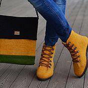 Boots handmade. Livemaster - original item Kit shoes, bag felted orange-2. Handmade.