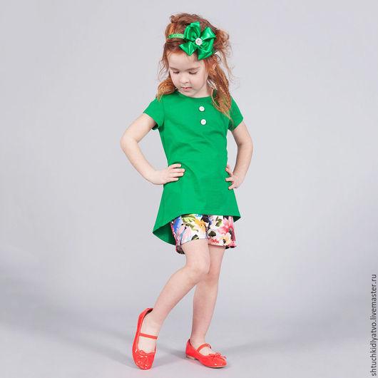 Одежда для девочек, ручной работы. Ярмарка Мастеров - ручная работа. Купить Туника и шорты. Handmade. Комбинированный, комплект, одежда для девочек