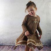 Работы для детей, ручной работы. Ярмарка Мастеров - ручная работа Трикотажное коричневое платье. Handmade.