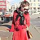 """Верхняя одежда ручной работы. Пальто """"Signorina"""", зима. Ciao, Bella!  женственная одежда. Ярмарка Мастеров. Ярко-красный"""