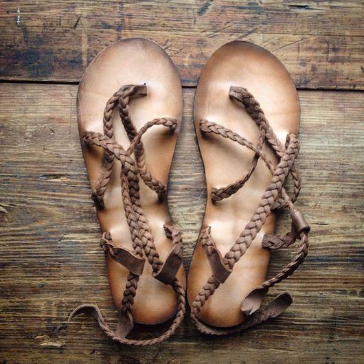 Обувь ручной работы. Ярмарка Мастеров - ручная работа. Купить Кожаные сандалии легкие с плетеными ремешками. Handmade. Летняя обувь