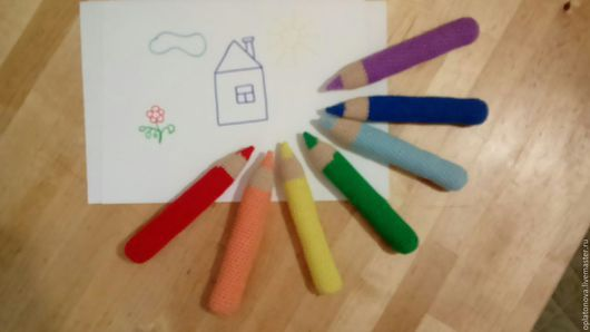 """Развивающие игрушки ручной работы. Ярмарка Мастеров - ручная работа. Купить Набор вязанных карандашей """"Радуга"""". Handmade. Комбинированный, карандаш"""