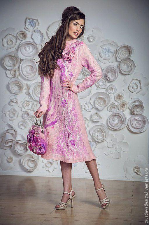 """Платья ручной работы. Ярмарка Мастеров - ручная работа. Купить """"Прекрасная роза"""", валяное платье. Handmade. Цветочный, повседневное платье"""