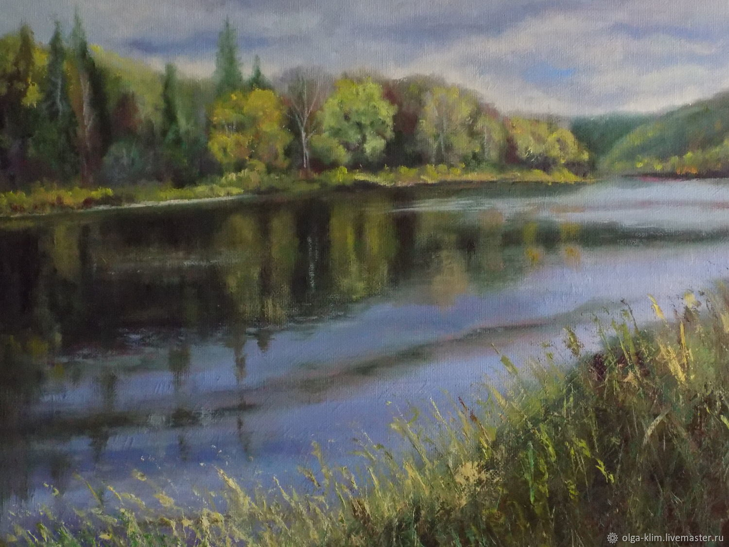 Painting on the river Bank Summer landscape of nature river oil, Pictures, Ekaterinburg,  Фото №1