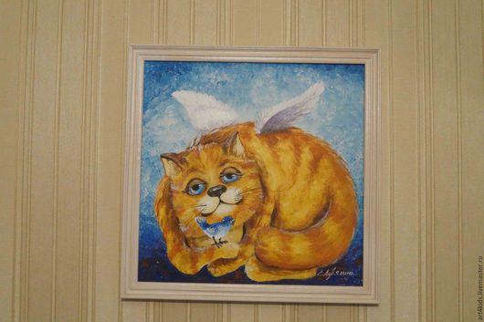 """Животные ручной работы. Ярмарка Мастеров - ручная работа. Купить """"Кот - Ангел"""" картина. Handmade. Оранжевый, голубой цвет, ангелок"""