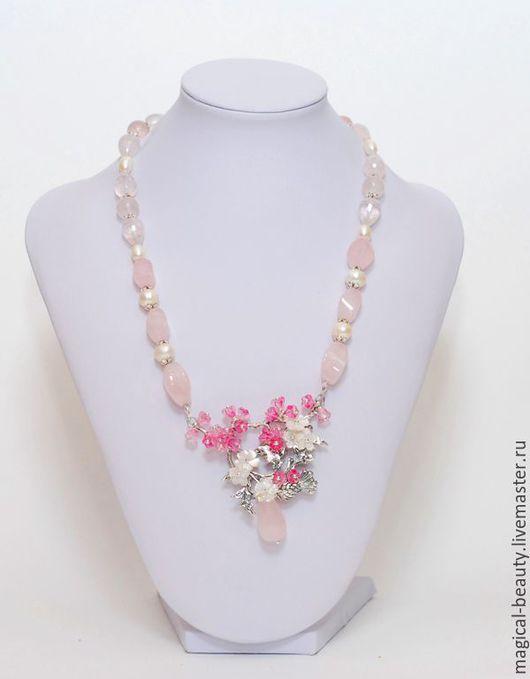 """Колье, бусы ручной работы. Ярмарка Мастеров - ручная работа. Купить Колье """"Дивные цветы сакуры"""". Handmade. Розовый"""