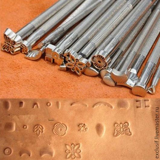 Купить набор штампов для тиснения по коже. Инструменты для работы с кожей, штампы по коже. Штампы (клейма, пуансоны) стальные для нанесения рисунков на кожу. Набор штампов для тиснения кожи 20 штук